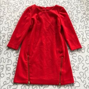 J.Crew Electric Red Double Zip Shift Dress